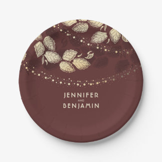 Gold and Burgundy Red Nature Inspired Wedding Paper Plate