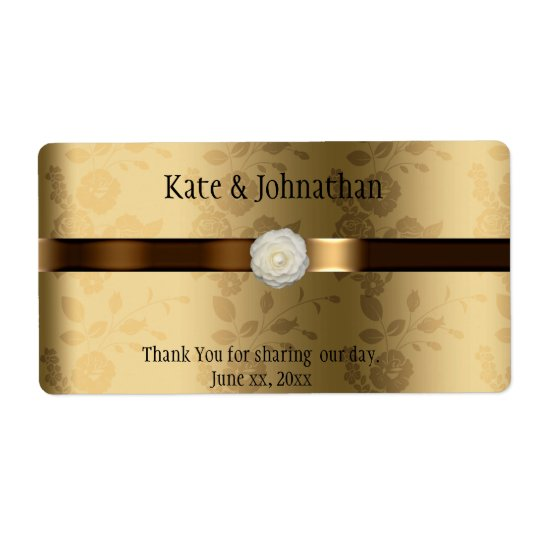 Gold and Chocolate Brown Wedding Wine Shipping Label