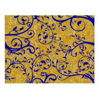 gold and cobalt brocade postcard