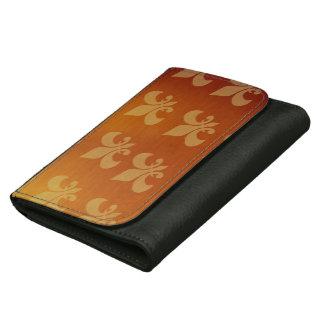 Gold and Copper Fleur de lis Leather Wallets