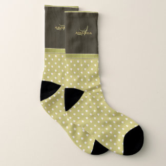 Gold and Ecru Olive Green Elegant Monogram 1