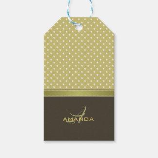 Gold and Ecru Olive Green Elegant Monogram Gift Tags