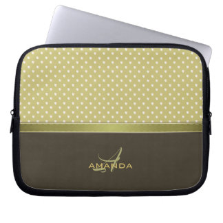 Gold and Ecru Olive Green Elegant Monogram Laptop Sleeve