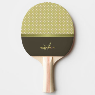 Gold and Ecru Olive Green Elegant Monogram Ping Pong Paddle