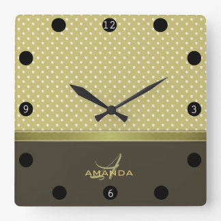 Gold and Ecru Olive Green Elegant Monogram Square Wall Clock
