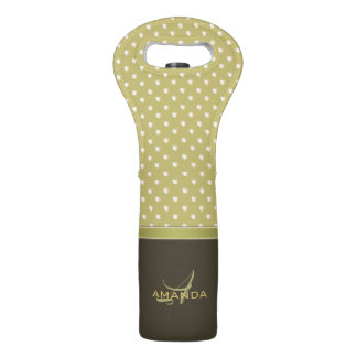 Gold and Ecru Olive Green Elegant Monogram Wine Bag