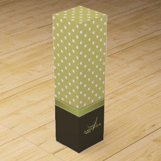 Gold and Ecru Olive Green Elegant Monogram Wine Gift Box