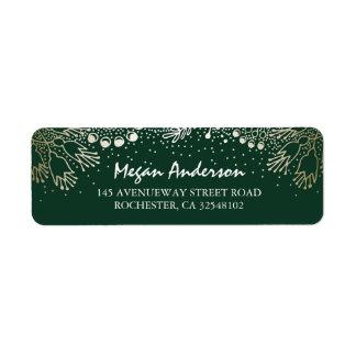 Gold and Emerald Green Garden Wonderland Wedding Return Address Label