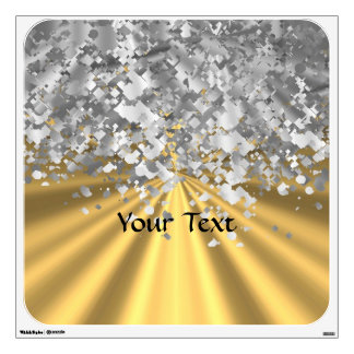 Gold and faux glitter personalized wall decal