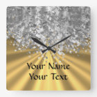 Gold and faux glitter square wall clock