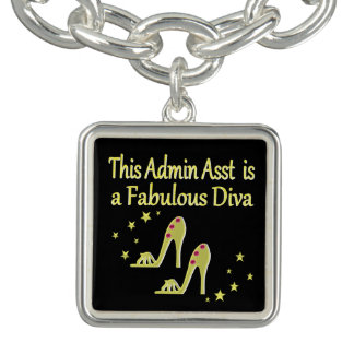GOLD AND GLITZY ADMIN ASST SHOE LOVER DESIGN BRACELET