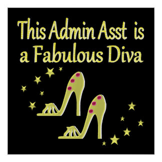GOLD AND GLITZY ADMIN ASST SHOE LOVER DESIGN POSTER