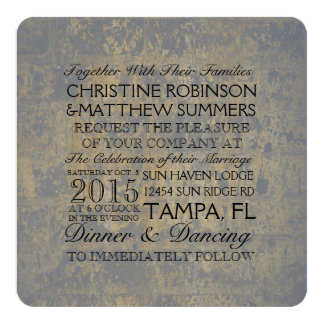 "Gold and Gray Distressed Wedding 5.25"" Square Invitation Card"