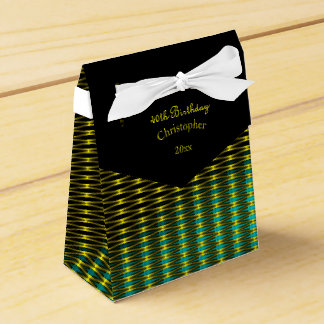 Gold and Green Art Pattern Favor Box