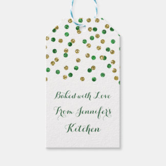 Gold and Green Confetti Christmas Baking Tags