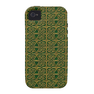 Gold And Green Connected Ovals Celtic Pattern Case-Mate iPhone 4 Cover