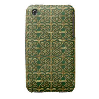 Gold And Green Connected Ovals Celtic Pattern iPhone 3 Covers
