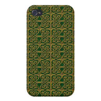Gold And Green Connected Ovals Celtic Pattern Cover For iPhone 4