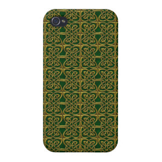 Gold And Green Connected Ovals Celtic Pattern iPhone 4 Cases