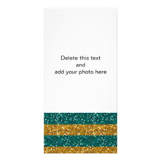 Gold and Green Glitter Stripes Printed Custom Photo Card