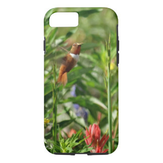 gold and green Hummingbird  red Flowers iPhone 8/7 Case