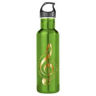 Gold and Green Musical Note Water Bottle