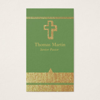 Gold and Green Pastor Business Cards with Cross
