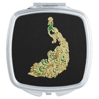 Gold and green peacock glimmering brightly compact mirrors
