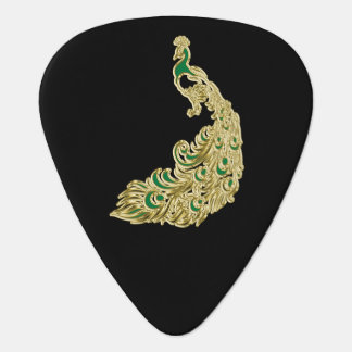 Gold and green peacock glimmering brightly guitar pick