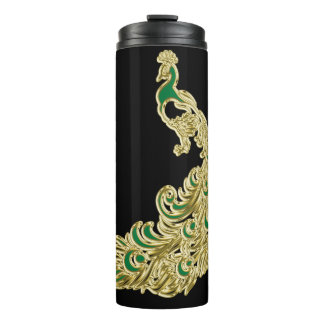 Gold and green peacock glimmering brightly thermal tumbler