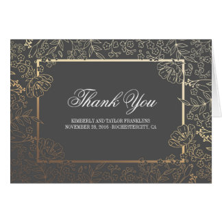 Gold and Grey Floral Vintage Wedding Thank You Card