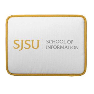 Gold and grey SJSU iSchool logo laptop sleeve MacBook Pro Sleeve