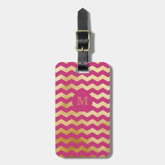 Gold and Hot Pink Chevron Luggage Tag