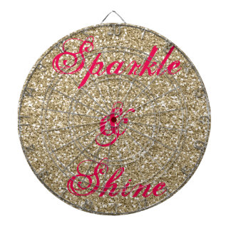 Gold and Hot Pink Glitter Sparkle and Shine Dartboards
