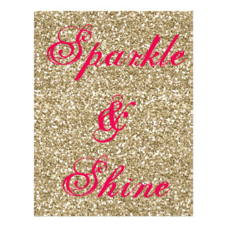 Gold and Hot Pink Glitter Sparkle and Shine Letterhead