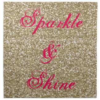 Gold and Hot Pink Glitter Sparkle and Shine Napkin
