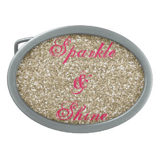 Gold and Hot Pink Glitter Sparkle and Shine Oval Belt Buckles