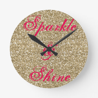 Gold and Hot Pink Glitter Sparkle and Shine Round Clock