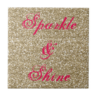 Gold and Hot Pink Glitter Sparkle and Shine Tiles