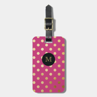 Gold and Hot Pink Polka Dot Luggage Tag