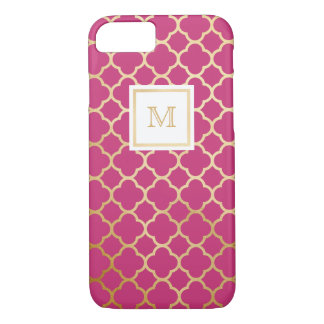 Gold and hot pink quatrefoil pattern phone case