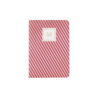 Gold and hot pink striped Passport Holder