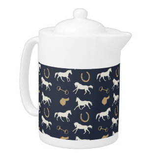 Gold and Ivory English Horses Pattern