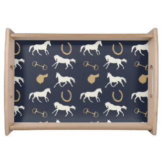 Gold and Ivory English Horses Pattern Serving Platter