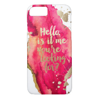 Gold and Magenta hello Iphone case