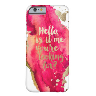 Gold and Magenta hello Iphone case Barely There iPhone 6 Case