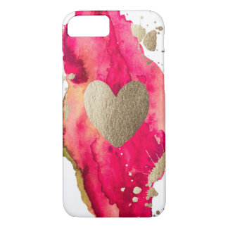 Gold and Magenta Love Iphone case