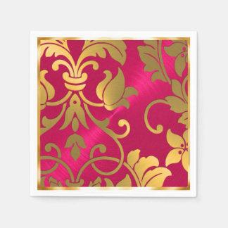 Gold and Magenta Pink Damask Paper Napkins