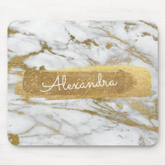 Gold and Marble with Gold Foil and Glitter Mouse Pad