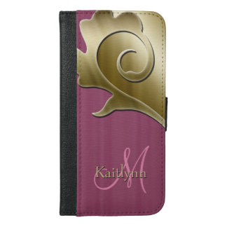 Gold and Mauve Rose Metallic Monogram iPhone 6/6s Plus Wallet Case